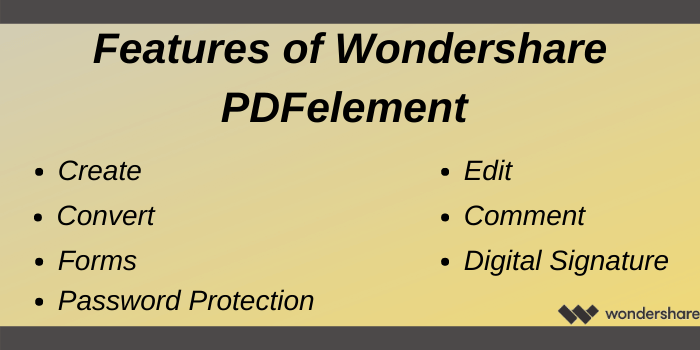 Wondershare Discount offer - Features of Wondershare PDFelement