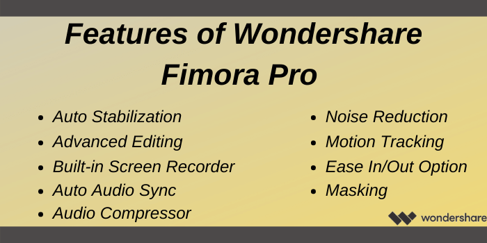 Wondershare Promo Code - Features of Wondershare FilmoraPro